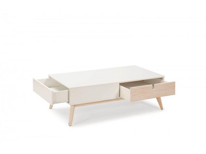 Table basse YUGO Blanc / Bois clair