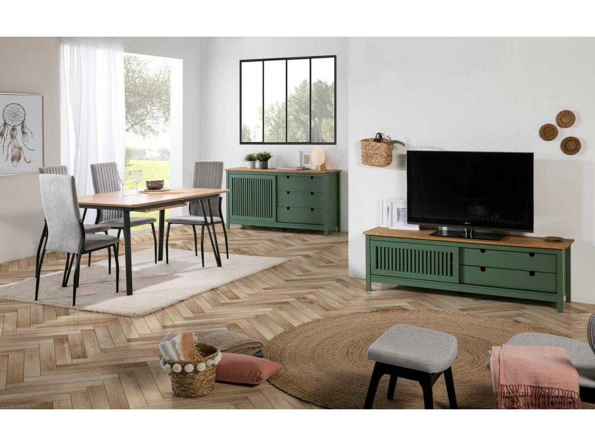 Meuble Télé CAPRI Vert / Bois clair