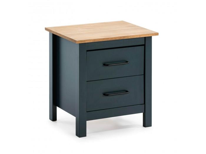 Table de chevet MEGANE Bleu et Bois clair