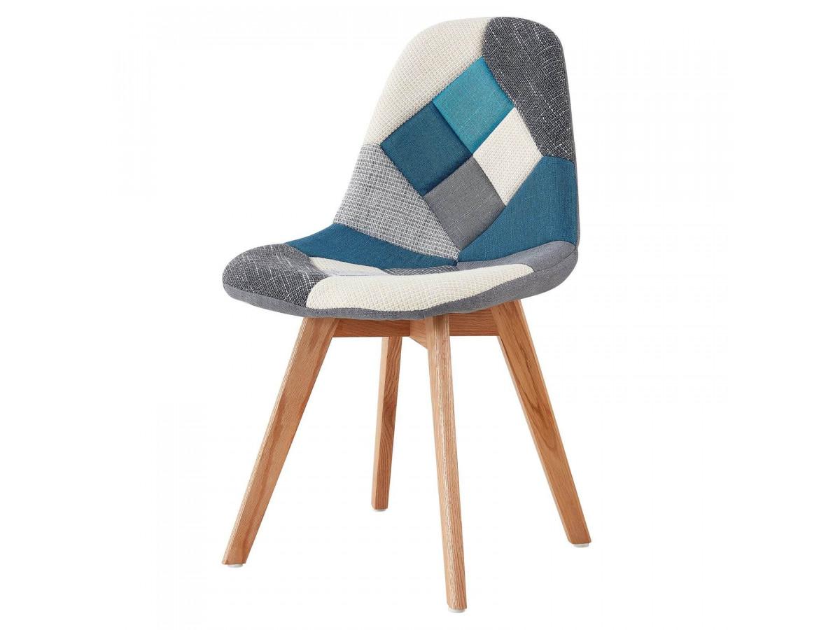 Chaise en tissu patchwork multicolore n°1 MARIUS