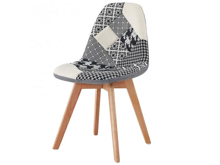 Chaise en tissu patchwork multicolore n°3 MARIUS