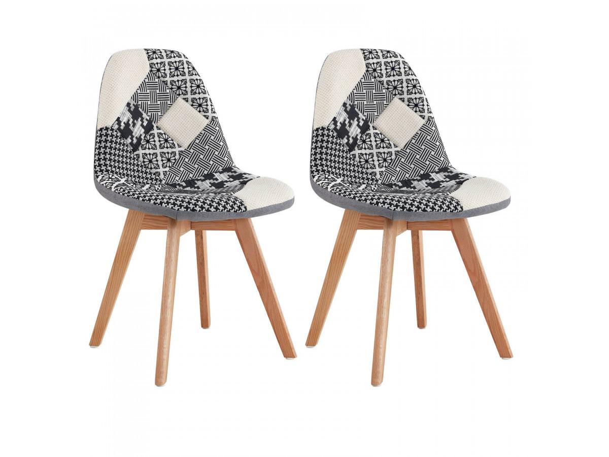 Lot de 2 chaises en tissu patchwork multicolore n°3 MARIUS
