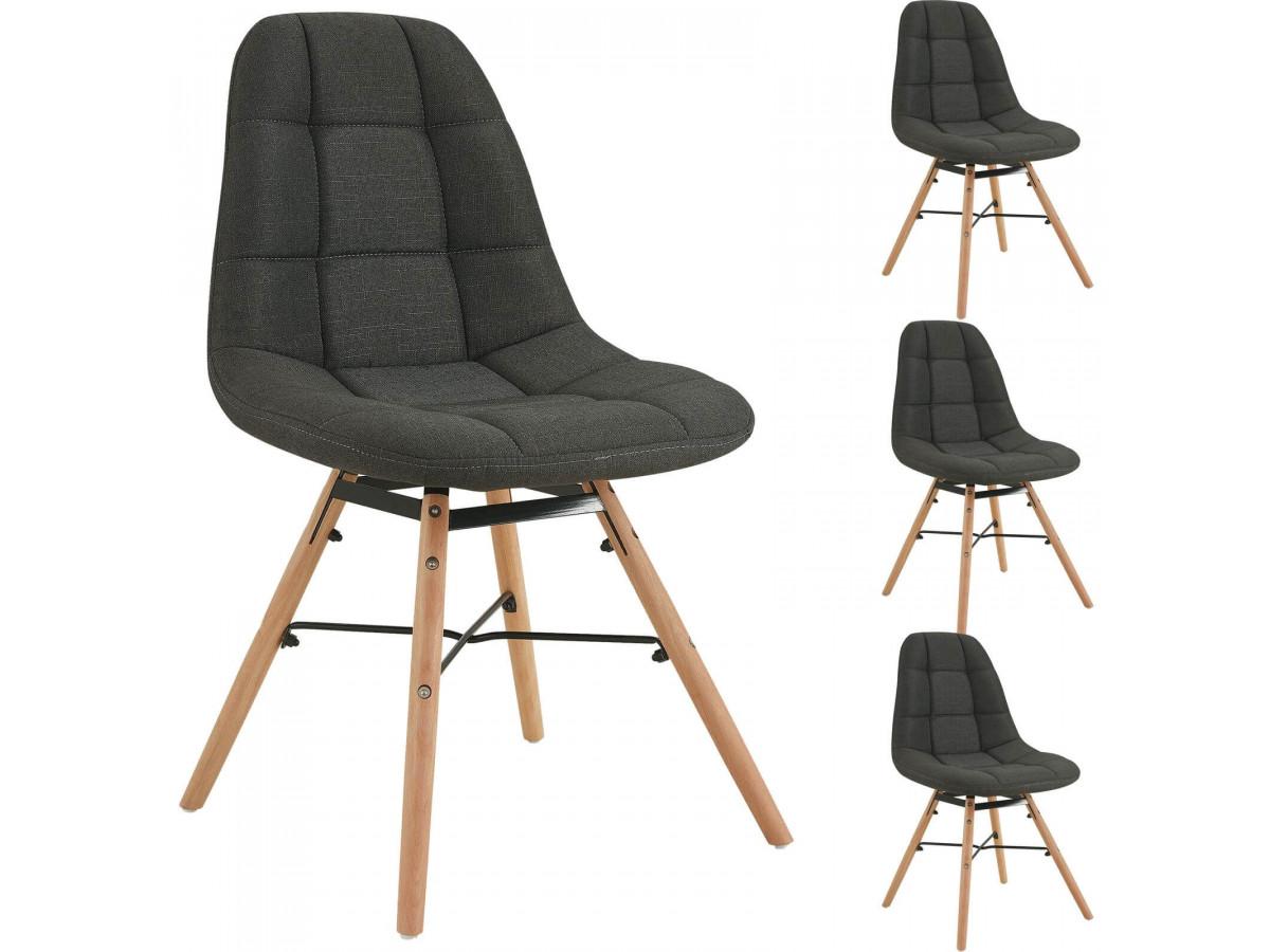 Lot de 4 chaises en tissu anthracite MARIUS bois et métal noir