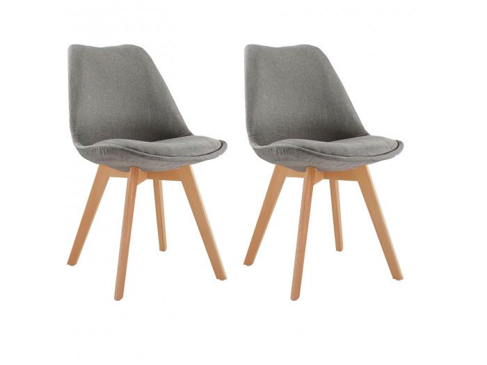Lot de 2 chaises en tissu gris ARIAL