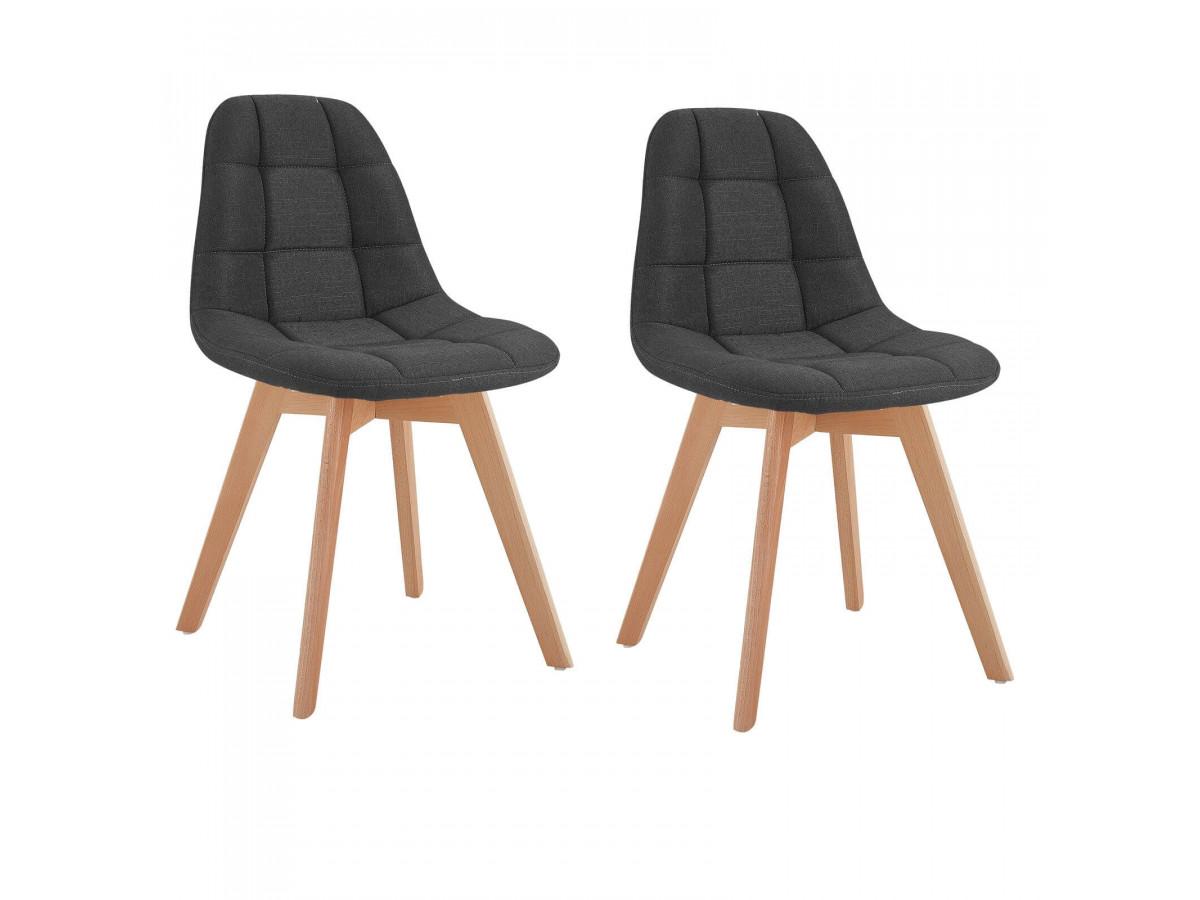 Lot de 2 chaises en tissu anthracite MARIUS