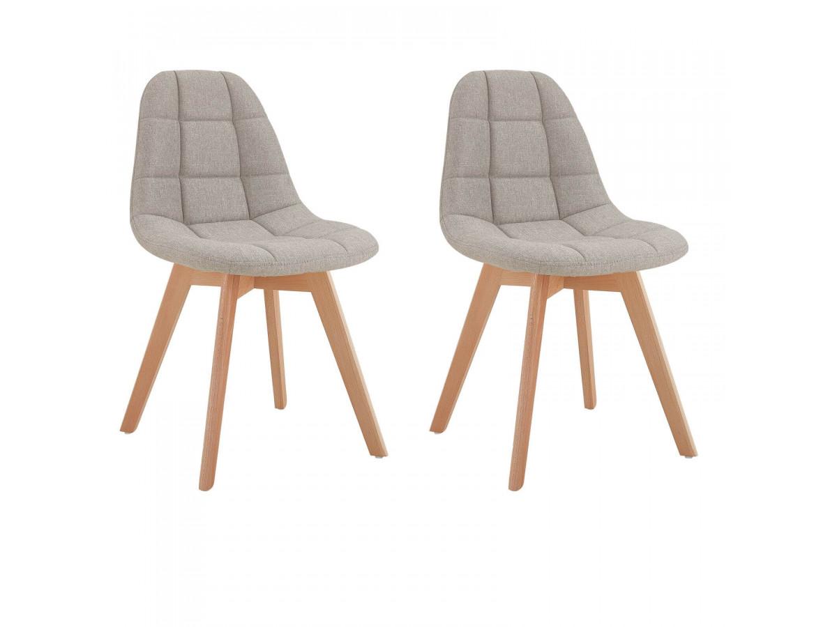 Lot de 2 chaises en tissu beige MARIUS