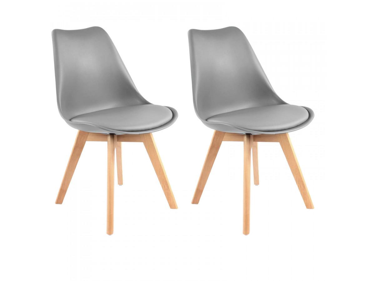 Lot de 2 chaises MIKO gris