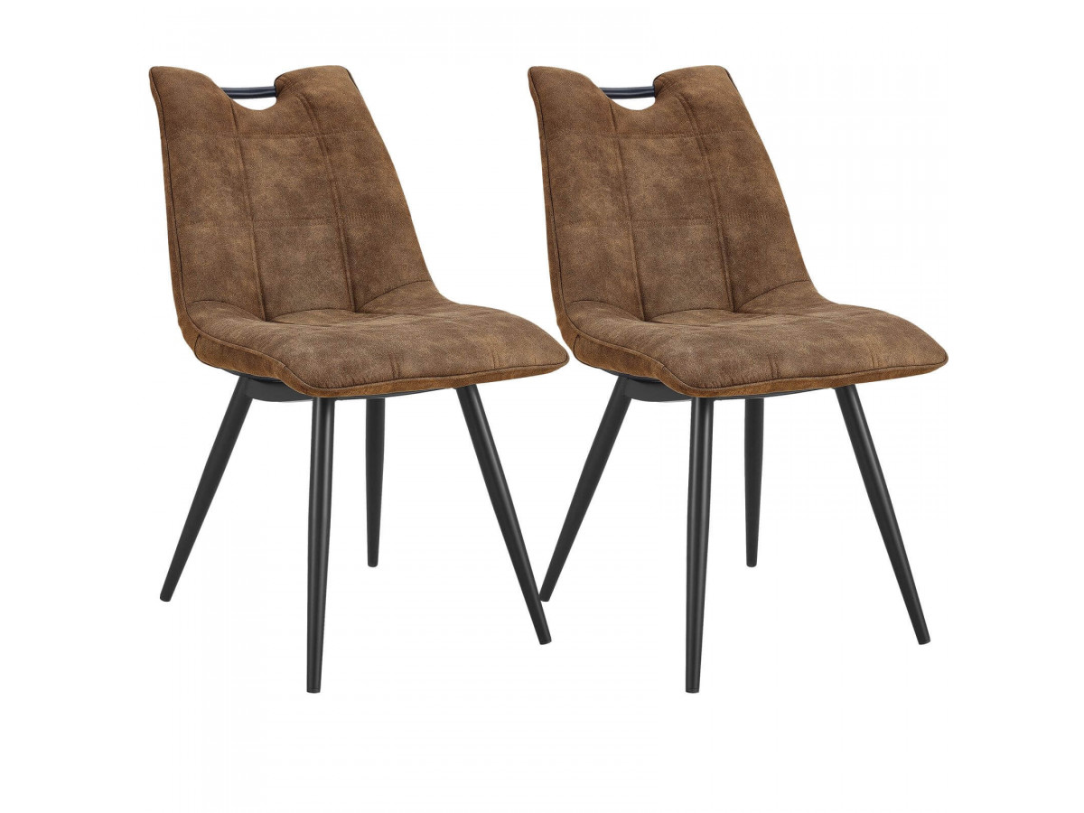 Lot de 2 chaises EILO vintage marron clair