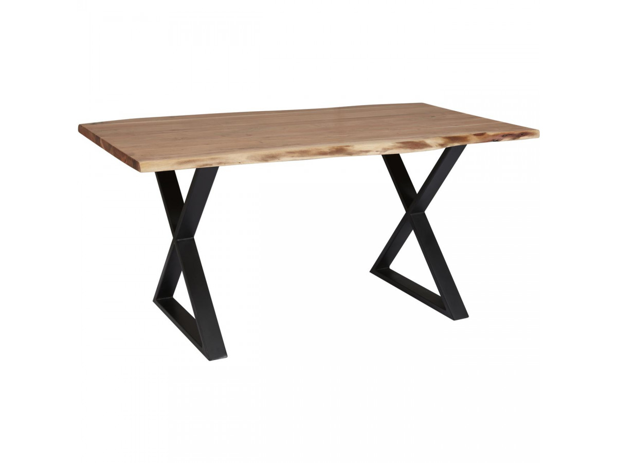 Table de repas 4-6 personnes AWA avec pieds en croix en metal noir