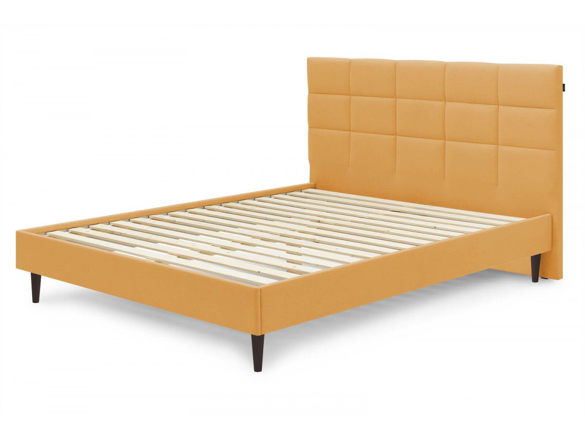 Structure de lit CARRE avec lattes massives pieds bois wengé 140x190