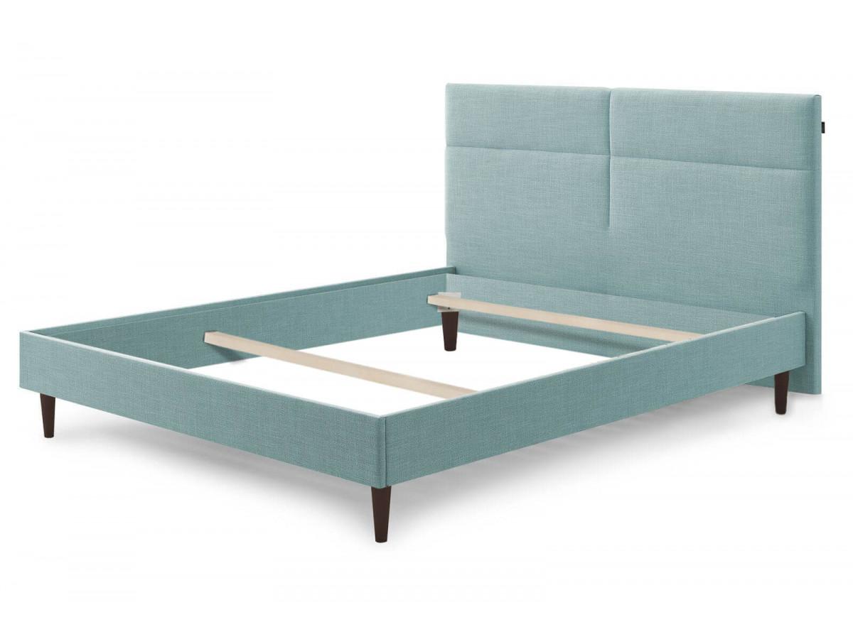 Structure de lit ELYNA avec pieds en bois wengé 160 x 200 cm