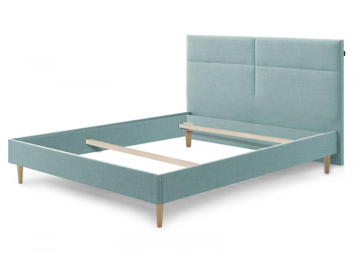 Structure de lit ELYNA avec pieds en bois naturel 160 x 200 cm