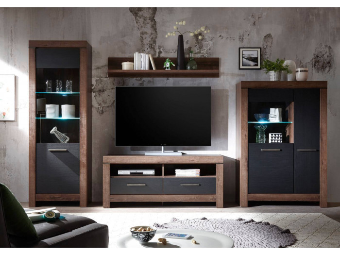 Meuble TV KITO Chêne foncé et Chêne noir