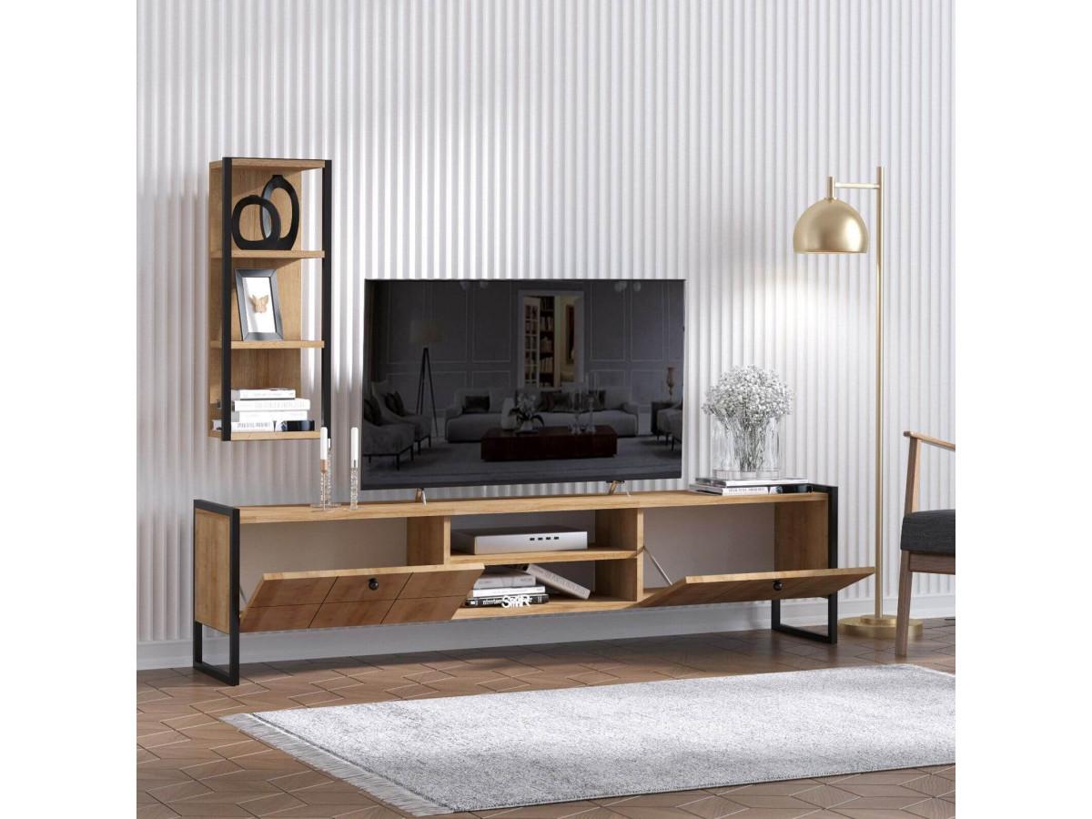 Meuble télé OLEA Chêne Noir