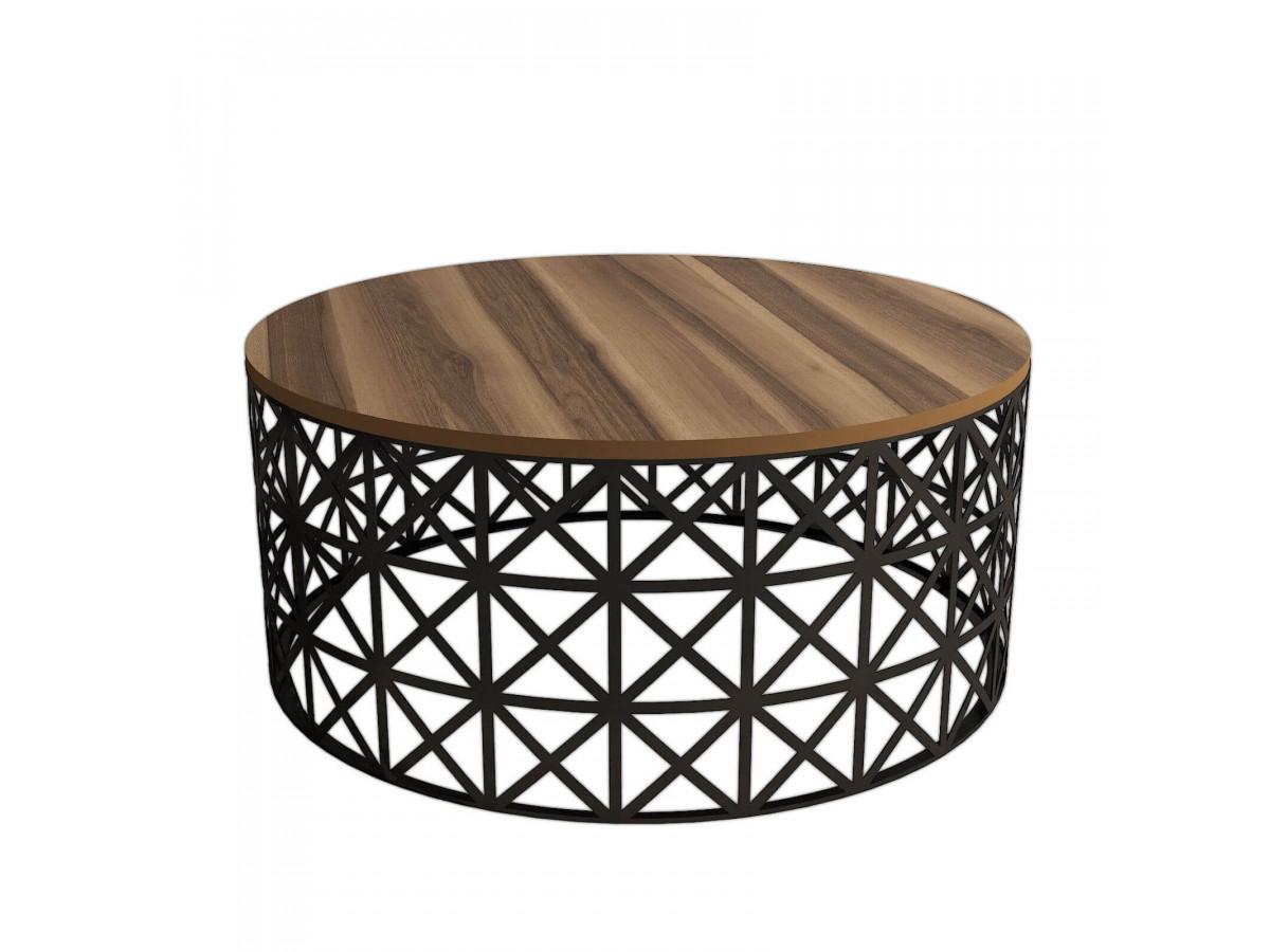 Table basse ronde SANITA Noyer Noir