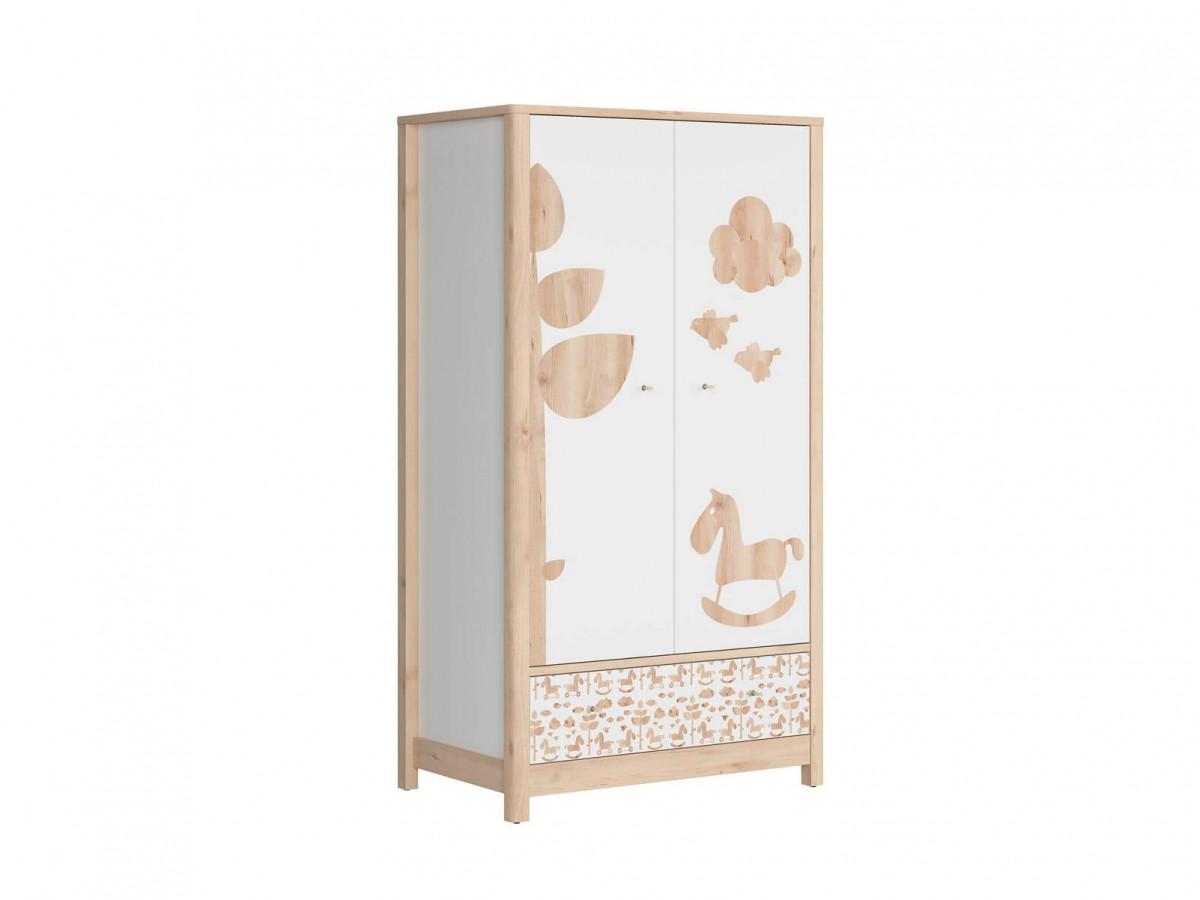 Armoire ROUBON bois clair/ blanc