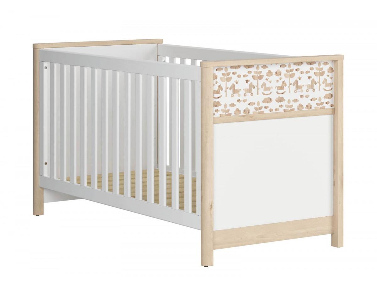 Lit bébé 70x140 ROUBON bois clair/ blanc