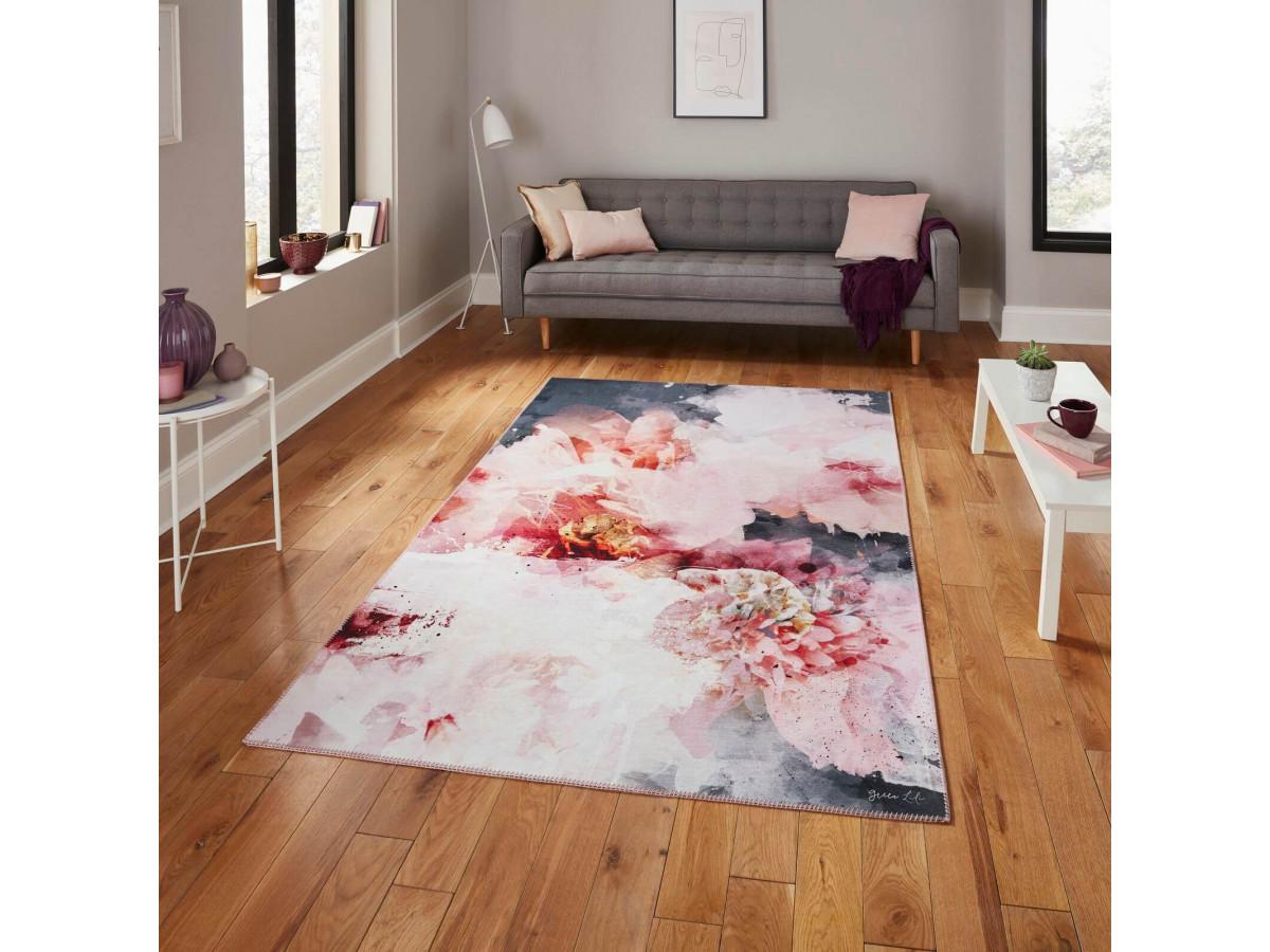 Tapis ROSER - Rose / Noir 150 x 230