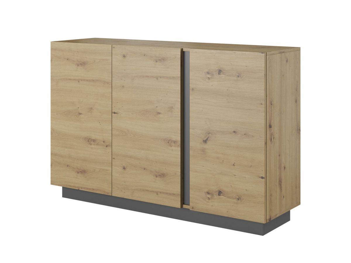 Buffet 139 cm portes simples ARCOMA Chêne et Gris