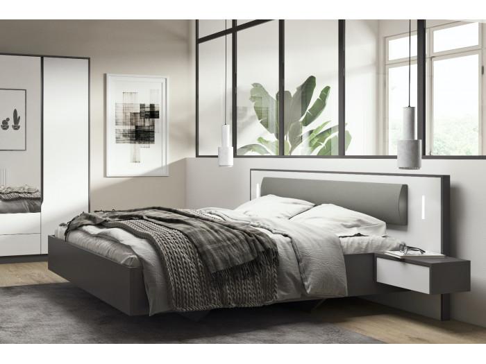 Lit coffre 160 cm SEGAN Blanc et gris