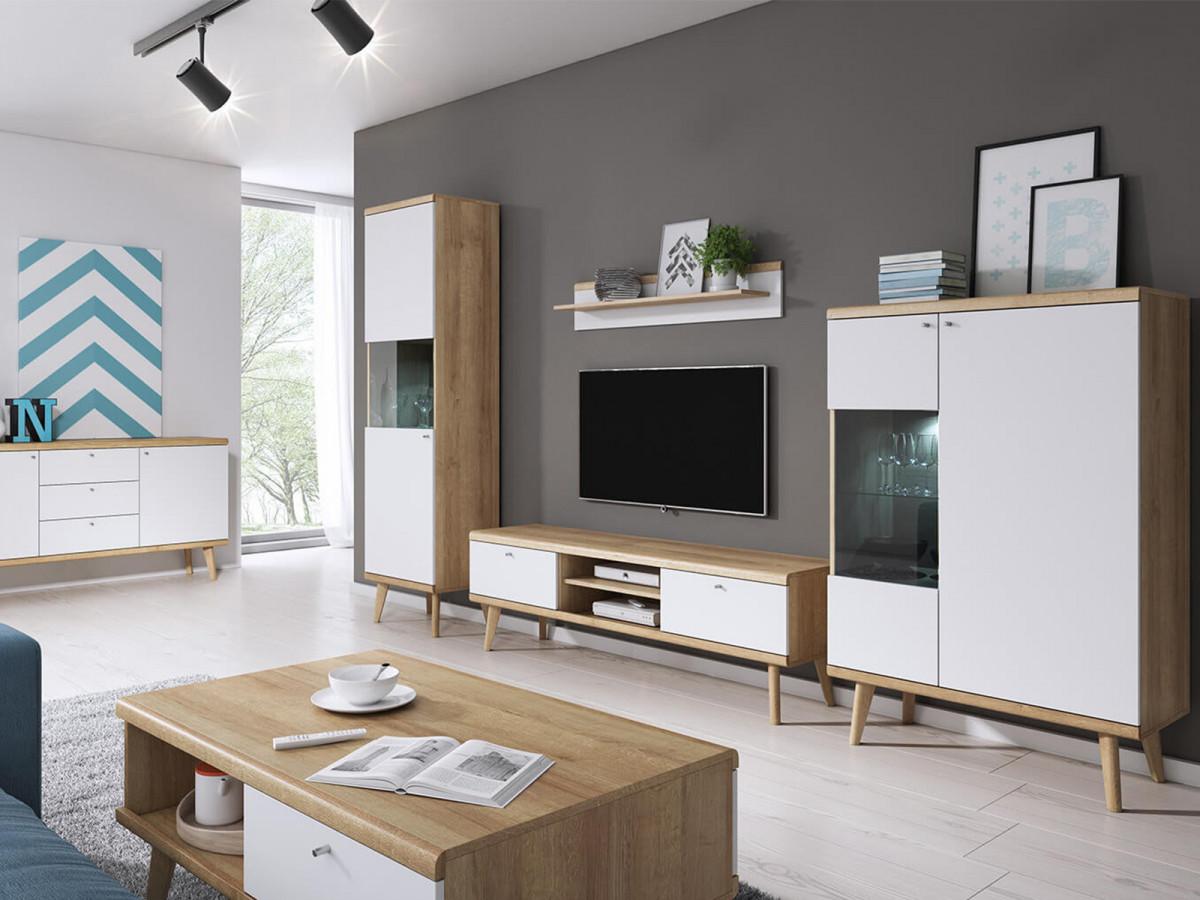 Meuble Tv 160 Primino Blanc Et Bois Bobochic