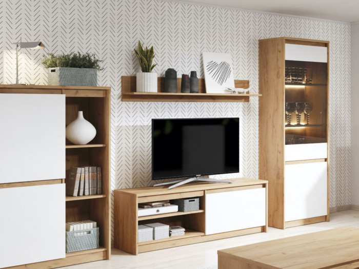 Meuble TV 137 cm 1 porte XELYO Blanc et Chêne