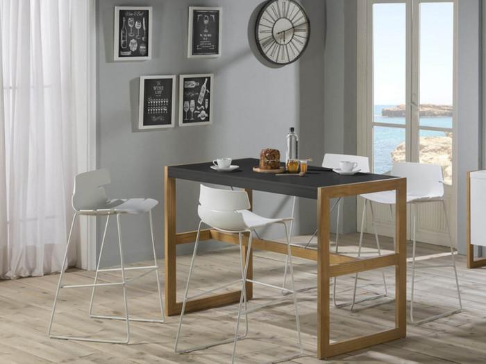 Table bar MIAMI Gris / Bois clair