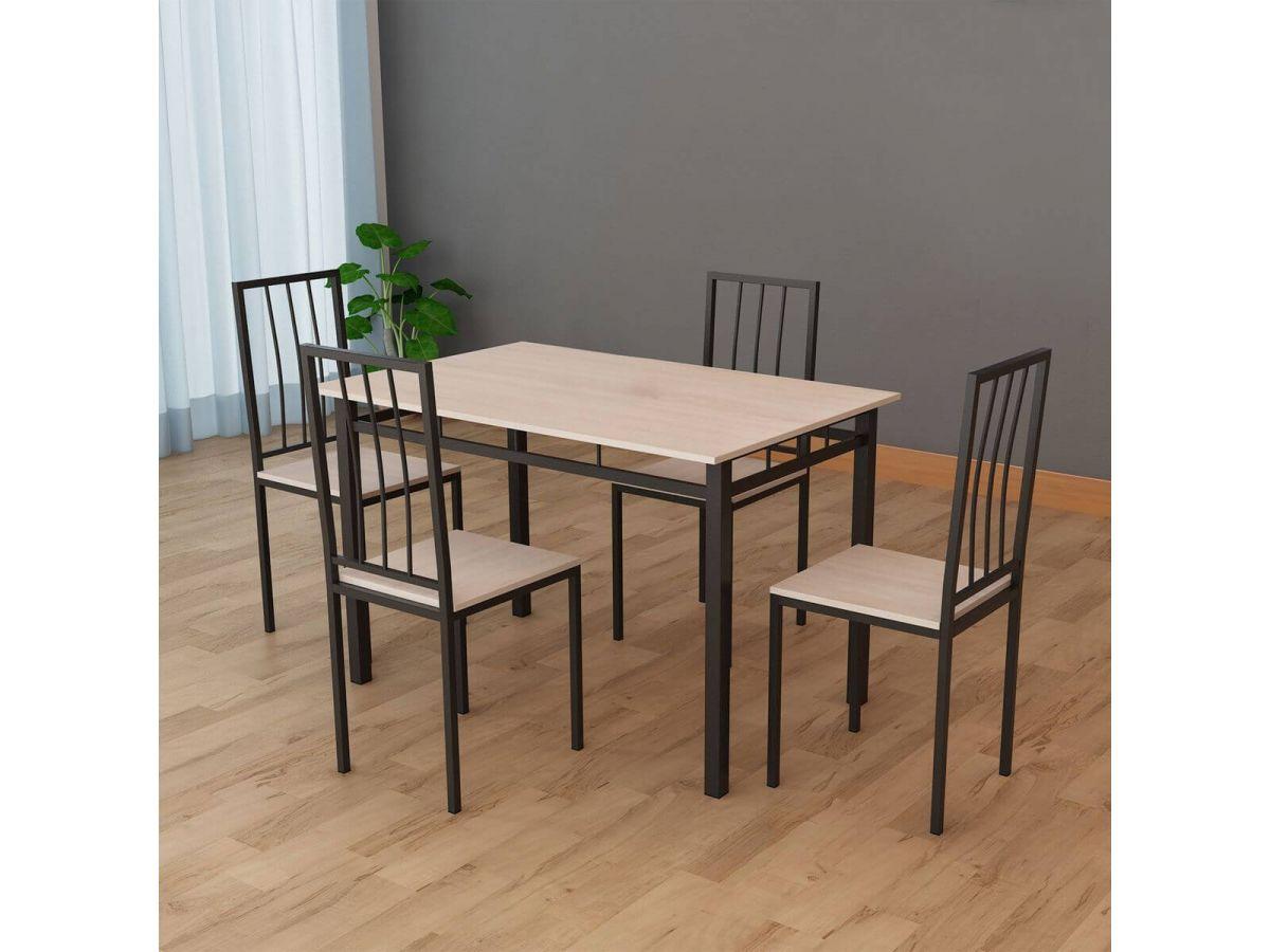 Table 110 cm BILBON avec 4 chaises en métal Beige