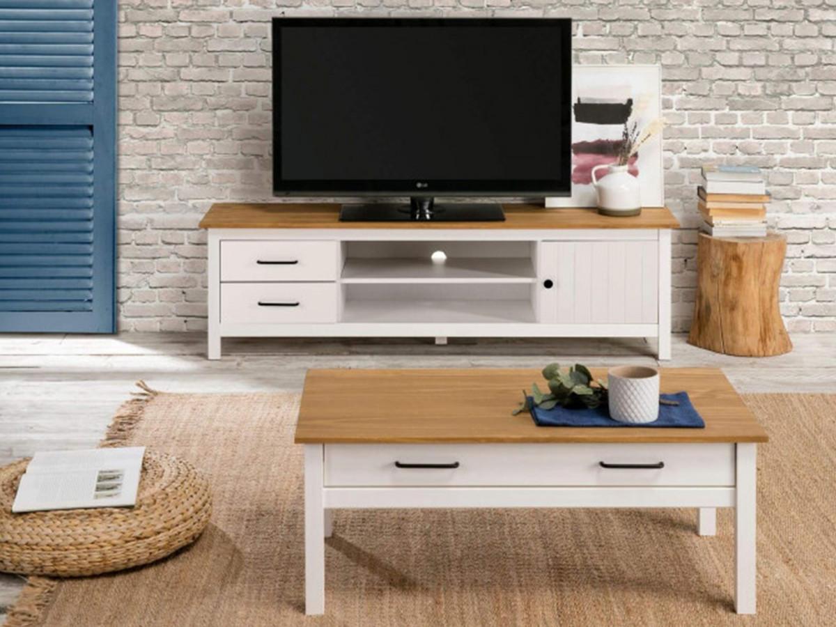 Meuble TV 158 cm MEGANE Blanc et Bois clair