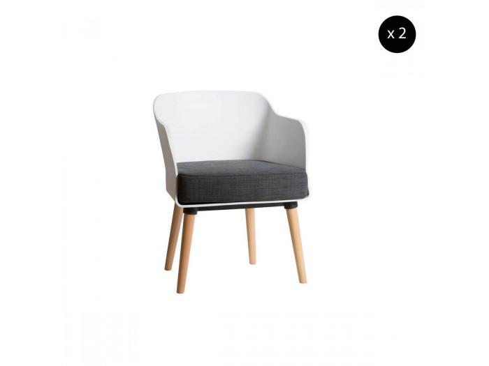 Ensemble de 2 fauteuils ORIA blanc / gris