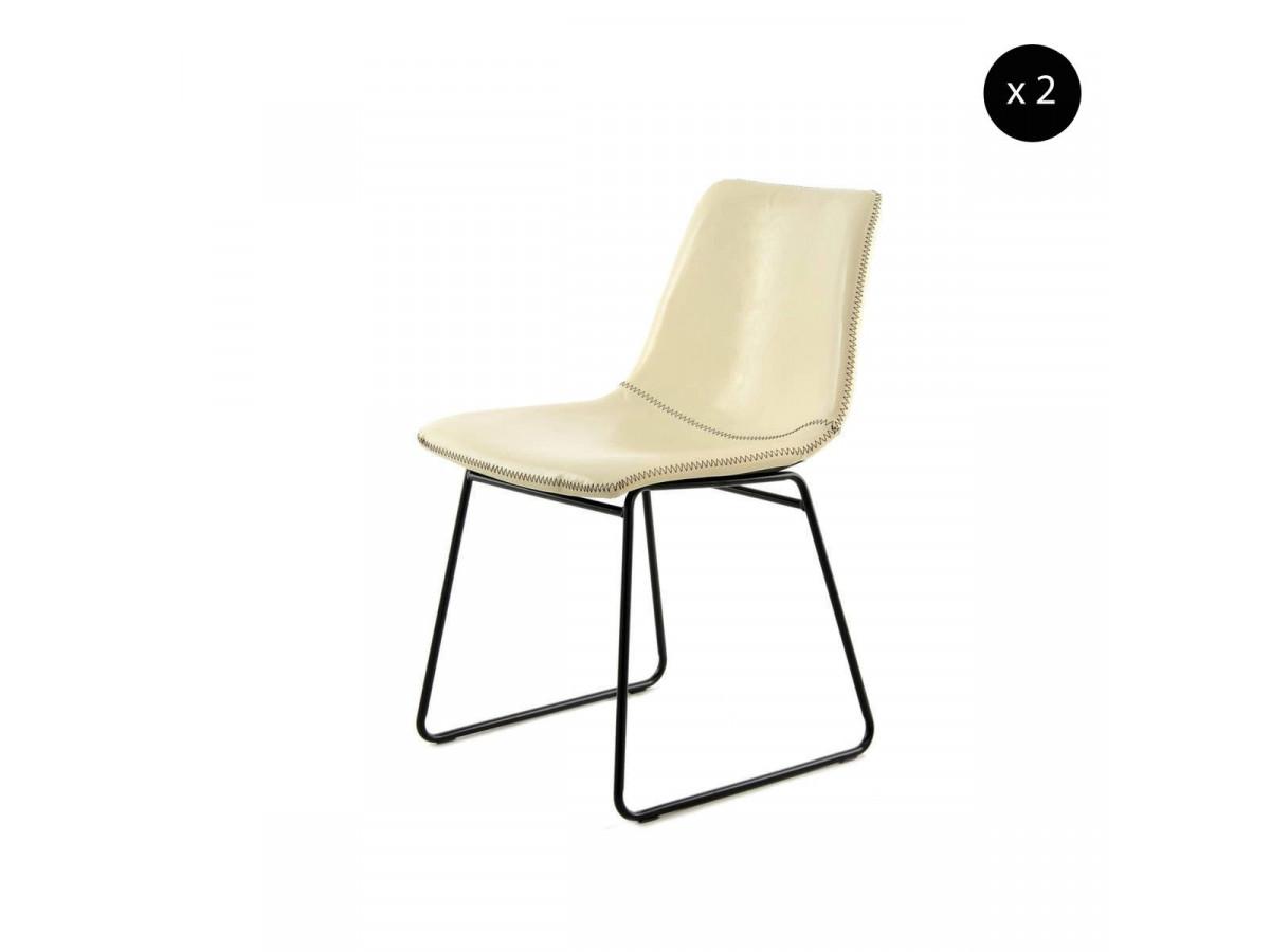 Lot de 2 chaises INES Blanc / Crème