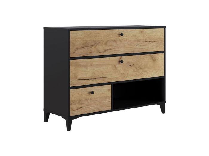 Commode 110 cm MIAMI chêne et rustique et noir