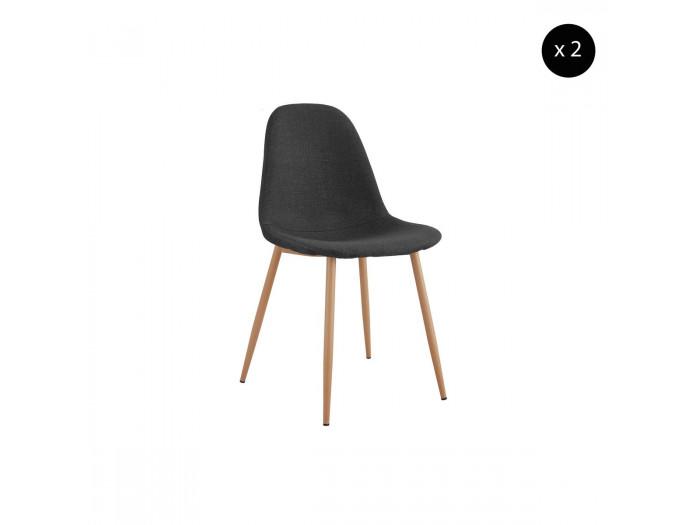 Lot de 2 chaises en tissu anthracite APLO métal impression bois