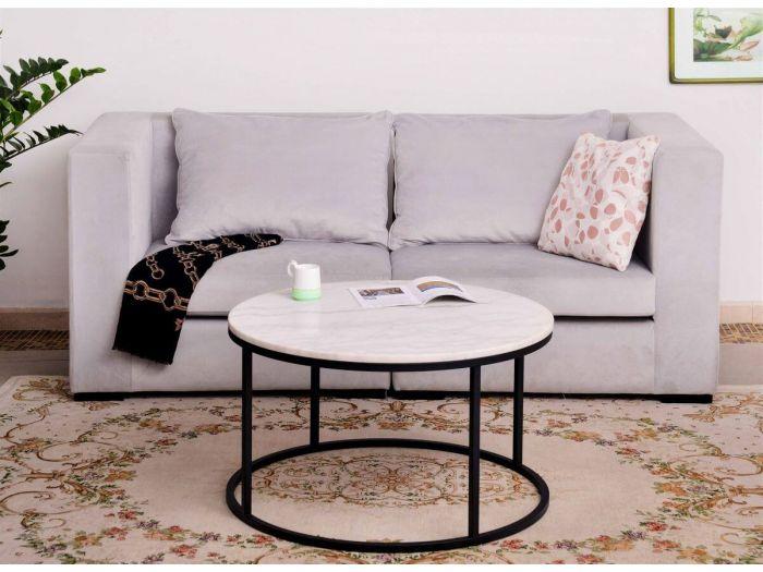 Table basse 85 cm NAPOLI en blanc grisé