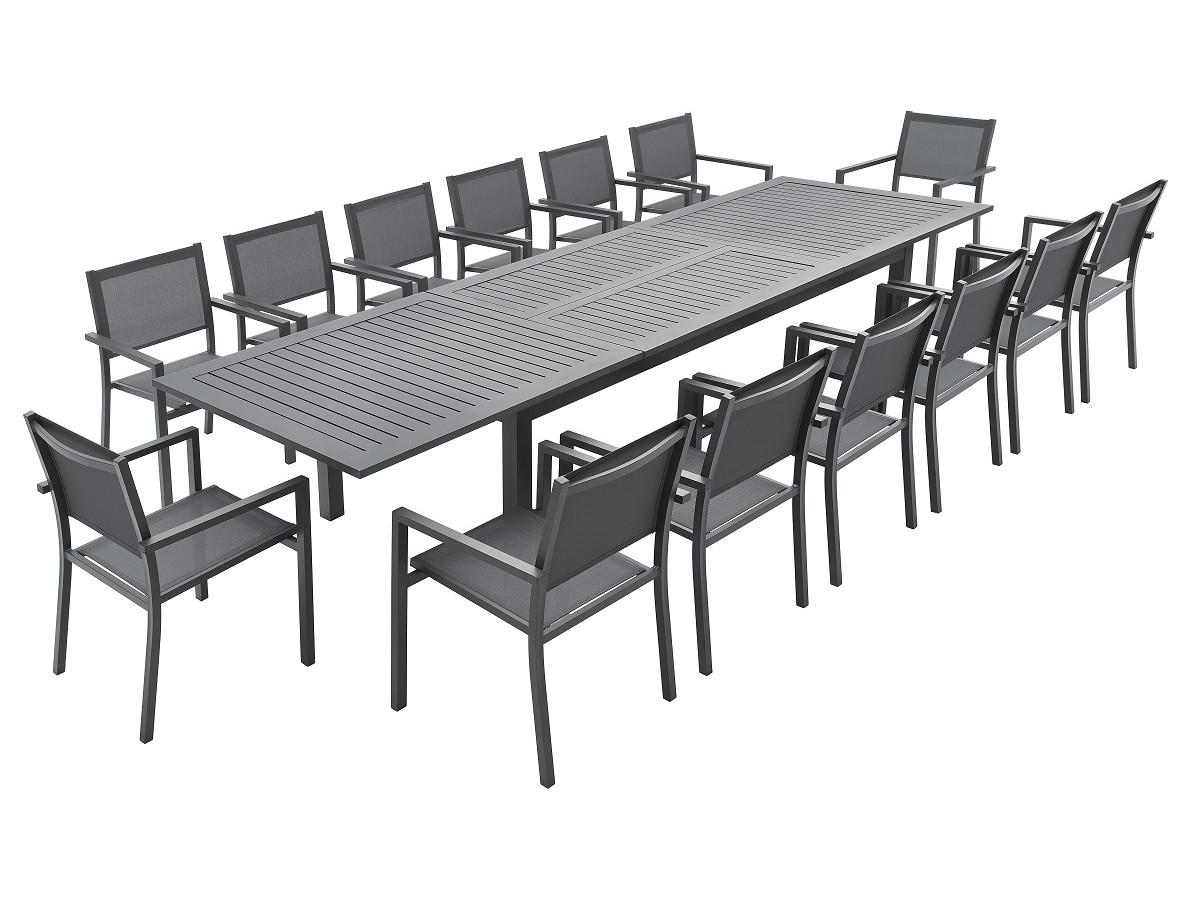 Ensemble table extensible + 14 fauteuils noirs PANAO