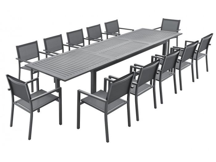 Ensemble table extensible + 12 fauteuils noirs PANAO