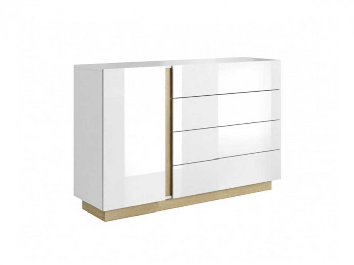 Commode 4 tiroirs 1 porte ARCOMA Blanc brillant et chêne