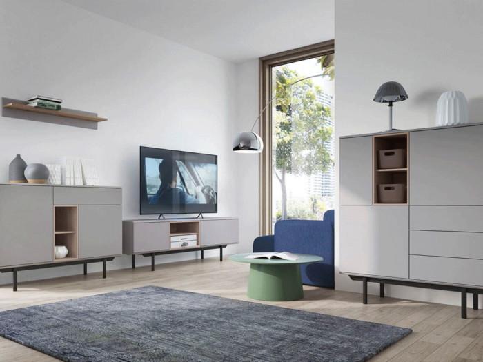 Meuble TV 175 cm INOXI Gris, Chêne et Noir