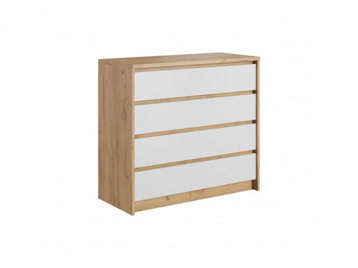 Commode 4 tiroirs XELYO Blanc et Chêne