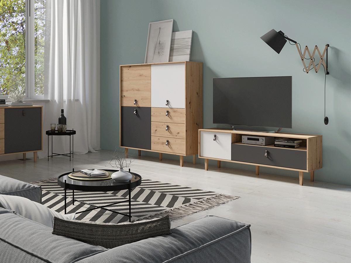 Meuble TV 150 cm HOUSTON Couleur chêne, blanc et gris