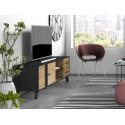 Meuble TV 180 cm ROMY imitation chêne et noir