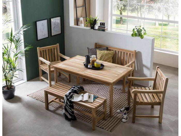 Ensemble table et 3 fauteuils et 1 banc LAS ALPAS bois clair naturel