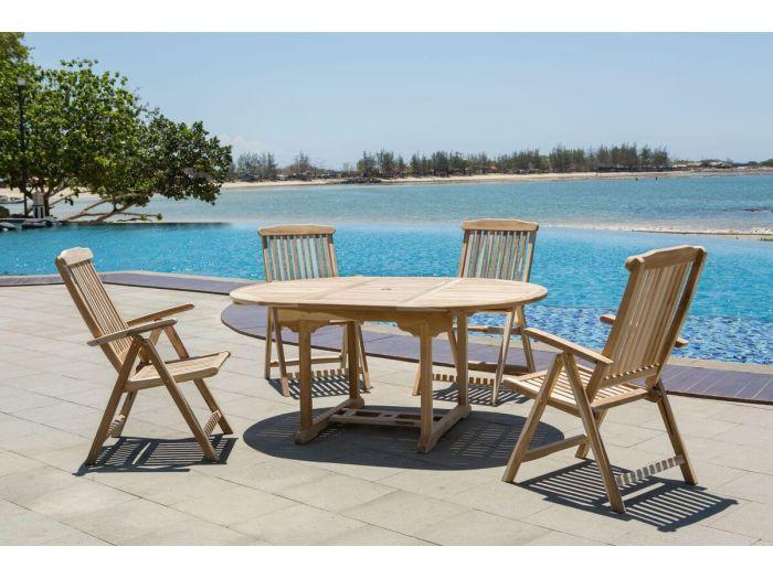 Ensemble table extensible 170 cm + 4 chaises PIRINEAS bois clair naturel