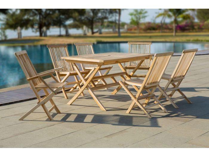 Ensemble table + 4 chaises ETREDA bois clair naturel