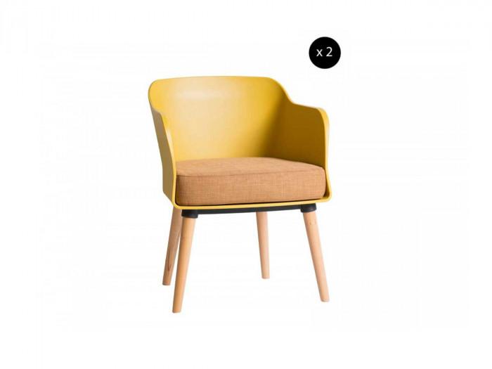 Ensemble de 2 fauteuils ORIA moutarde