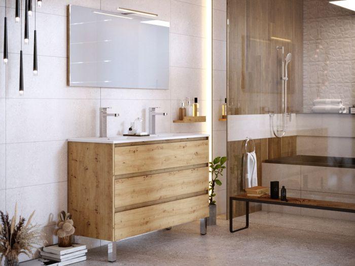 Meuble de salle de bain 120 cm avec pieds BAYO chêne clair