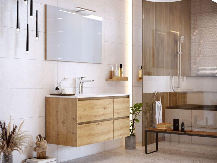 Meuble de salle de bain 100 cm BAYO chêne clair
