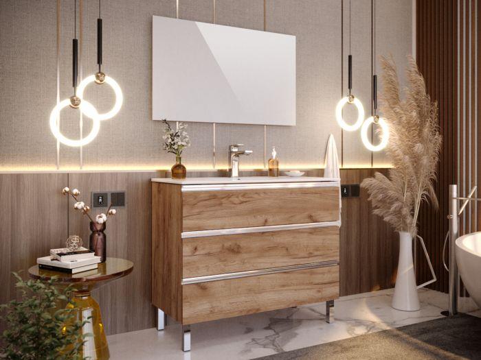 Meuble de salle de bain 100 cm avec pieds ARIA chêne foncé