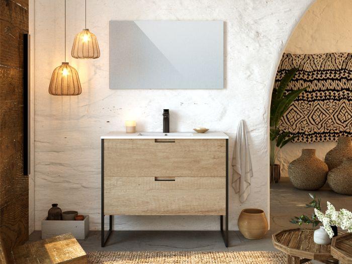 Meuble de salle de bain 100 cm avec pieds MAWA chêne clair
